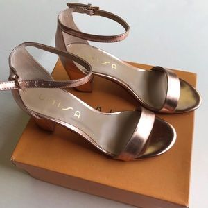 Unisa Rose Gold Block Heels